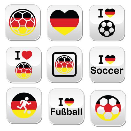 I love German football, soccer buttons set Vector