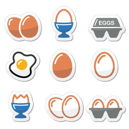 huevos fritos: Huevo, huevo frito, establece iconos de caja de huevo Vectores