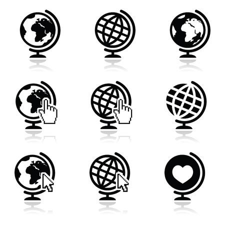 weltweit: Globe Erde Icons mit Cursor Hand und Pfeil Illustration