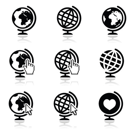 Globe earth icons with cursor hand and arrow