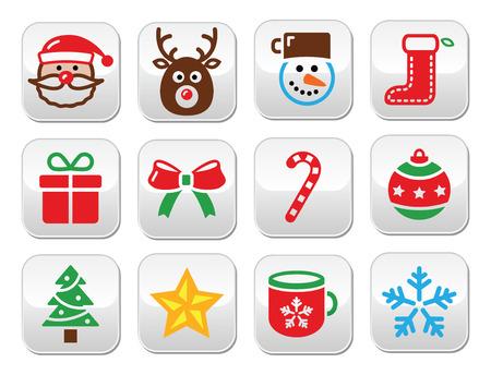 Christmas colorful buttons set - Santa, present, tree, Rudolf Vector