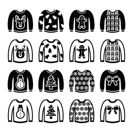 tacky: Ugly Christmas sweater on jumper icons set