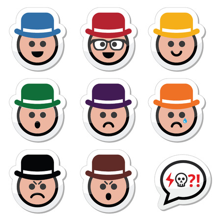 Man in hat faces icons set Illustration
