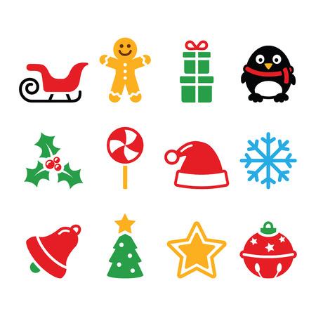 Christmas icons set - Santa, xmas tree, present Vector