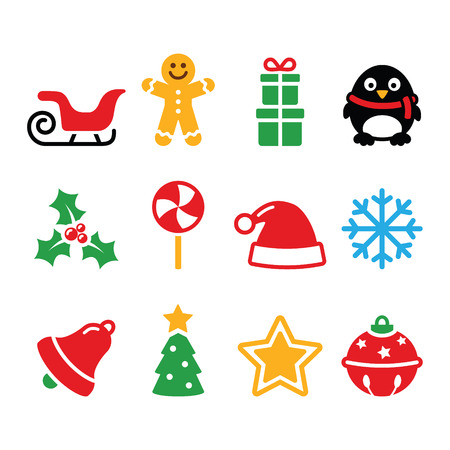 Christmas icons set - Santa, xmas tree, present Vector