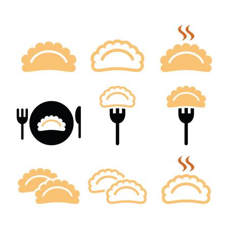 dumpling: Dumplings, food vector icons set