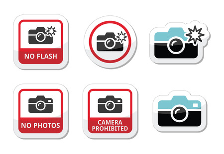 No photos, no cameras, no flash icons Vector