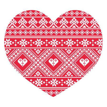 Traditionele Oekraïense rode volkskunst hart patroon Stock Illustratie