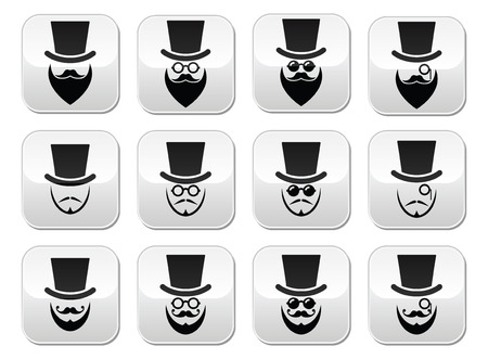 whisker: Man with hat with beard and glasses buttons set