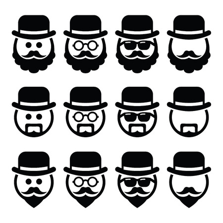 whisker: Man in hat with beard and glasses icons set Illustration