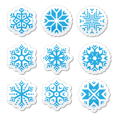 Snowflakes icon set on black and white background Vector