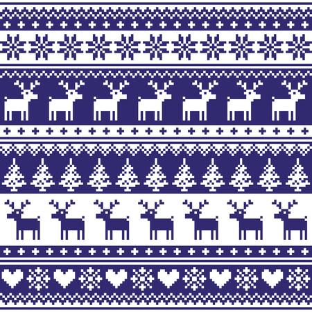Naadloze: Winter, Nordic naadloze marine blauwe patroon met rendieren