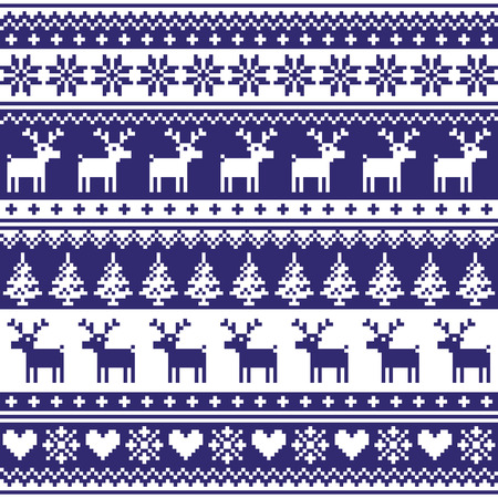 Winter, Nordic seamless navy blue pattern with reindeer Vector