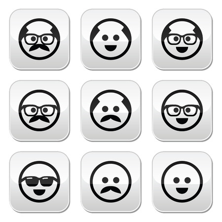 redneck: Bald man with mustache and in glasses faces buttons set