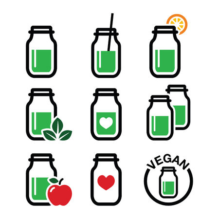 Green shake, green smoothie jar icons set Vector