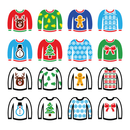 Ugly Christmas sweater on jumper icons set Vettoriali