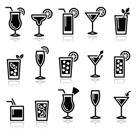 Cocktails, drinks glasses icons set