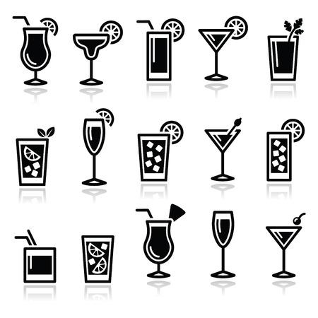 Koktajle, napoje okulary ikony ustaw Ilustracje wektorowe