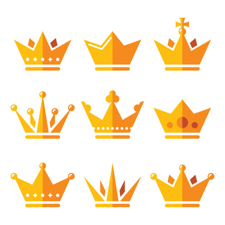 aristocracy: Gold crown, royal family icons set Illustration