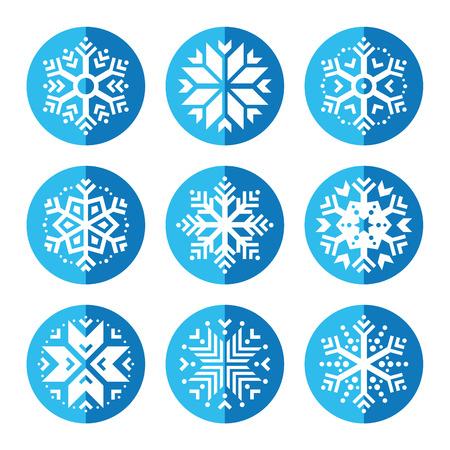 Snowflakes round blue icon set Vector