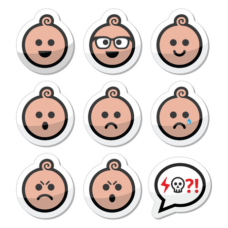 pissed off: Baby boy faces, avatar icons set