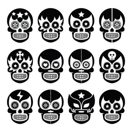 wrestler: Lucha Libre - Mexican sugar skull masks black icons
