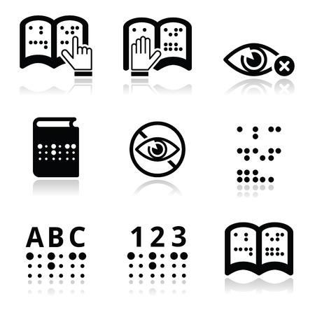 Blindheid, braille schrift icon set
