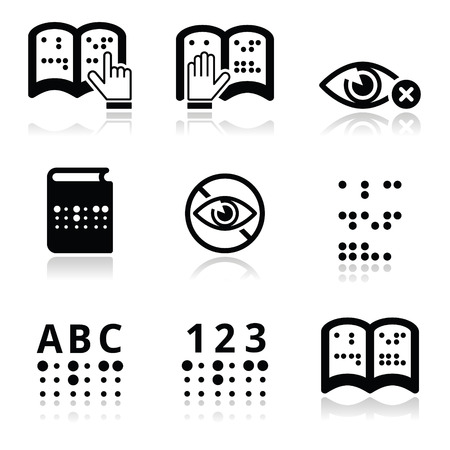 Blindness, Braille writing system icon set Vector