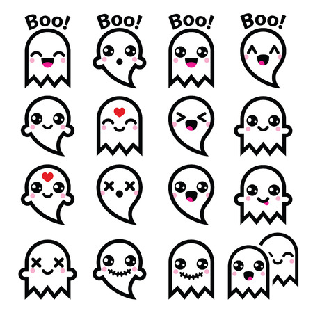 ojos caricatura: Fantasma lindo de Kawaii para los iconos de Halloween establecen