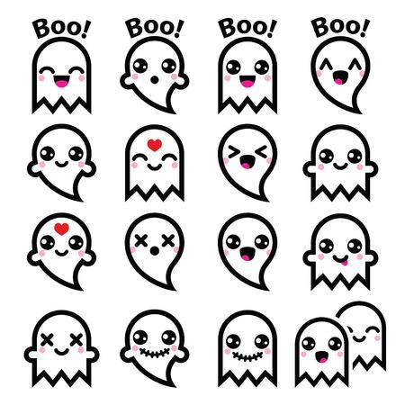 Kawaii leuk spook voor Halloween pictogrammen instellen Stock Illustratie