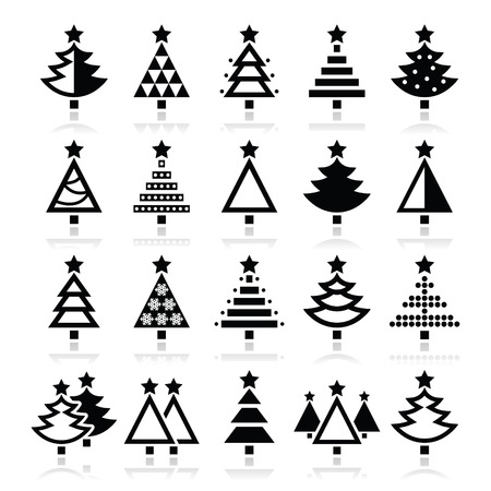 Christmas tree - various types icons set Vector