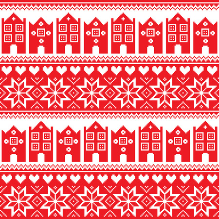 swedish: Nordic, winter seamless red pattern with houses Illustration