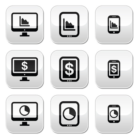 smartphone business: Business, chart on computer, tablet, smartphone vector buttons set