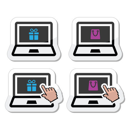 Shopping online, lapton with present and shooping bag icons set Vector