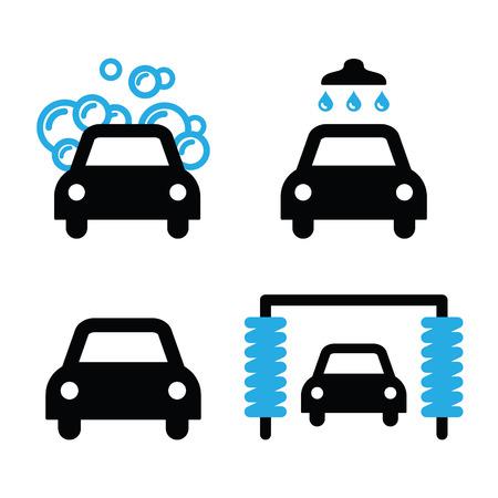 lavar: Lavado de coches iconos conjunto negro y azul - vector
