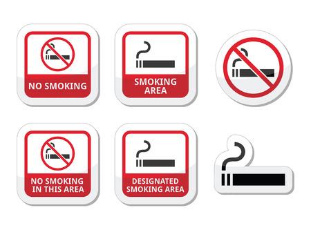 No fumar, iconos vectoriales zona de fumadores establecen
