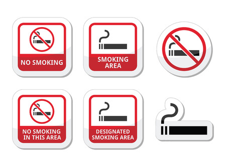designated: No smoking, smoking area vector icons set