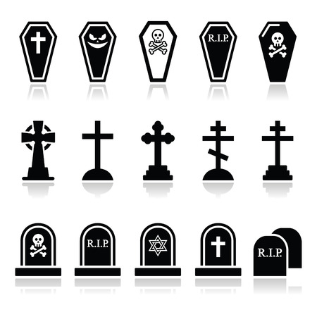 rest in peace: Halloween, graveyard icons set - coffin, cross, grave