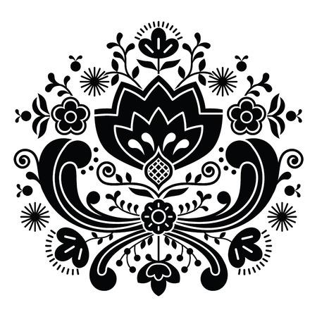 노르웨이어 민속 예술 Bunad 블랙 패턴 - Rosemaling 스타일의 자수 일러스트