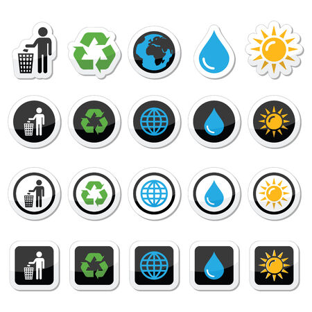 recycling bin: Man and bin, recycling, globe, eco power icons set Illustration