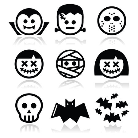 Halloween characters - Dracula, Frankenstein, mummy icons Vector