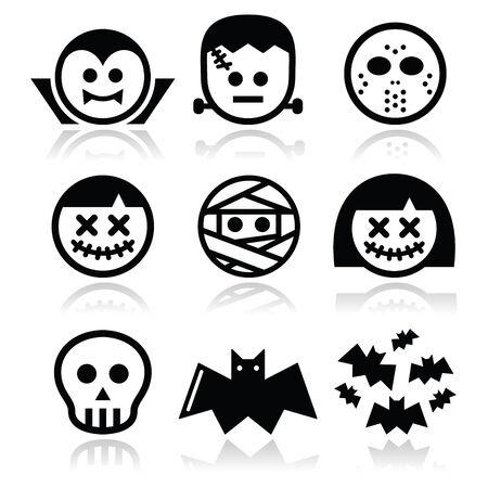 Halloween characters - Dracula, Frankenstein, mummy icons