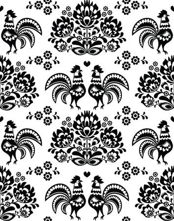 Seamless Polish, Slavic black folk art pattern with roosters - Wzory Lowickie, wycinanka Vector