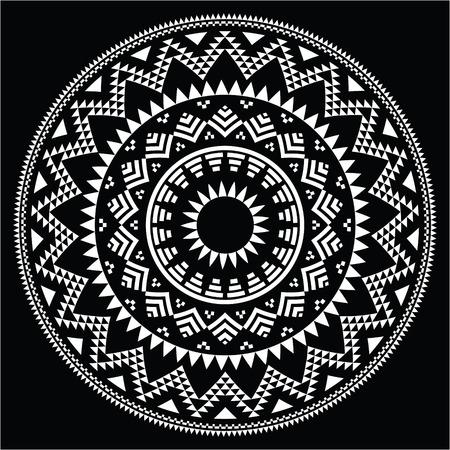 Tribal folk round Aztec geometric pattern on black Vector