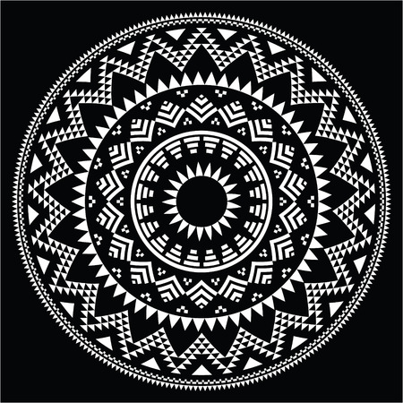 Tribal folk round Aztec geometric pattern on black Vector