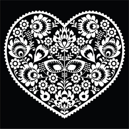 Polish white folk art heart pattern on black - wzory lowickie, wycinanka Vector