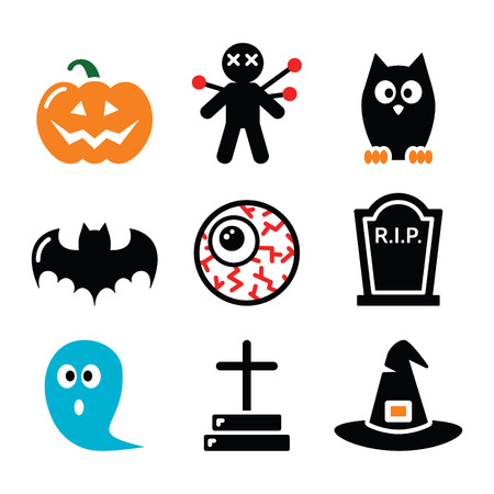 Halloween icons set - pumpkin, witch, ghost Vector