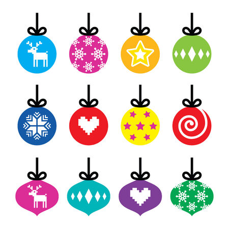 Christmas ball, Christmas bauble colorful icons set Vector