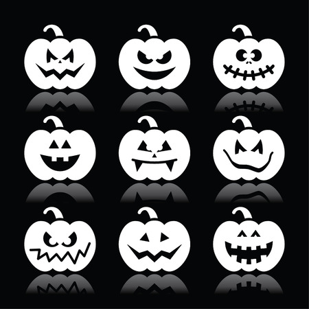 Halloween pumpkin vector icons set on black background Vector