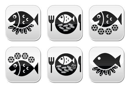 fish and chips: Botones de pescado y patatas fritas conjunto de vectores Vectores